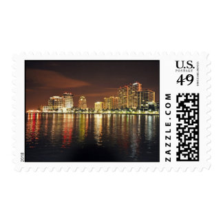 West Palm Beach, Florida at night Postage