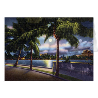 West Palm Beach Florida Lake Worth at Night Card