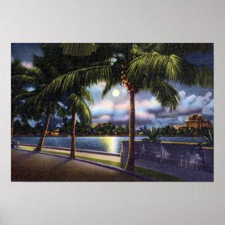 West Palm Beach Florida Lake Worth at Night Poster
