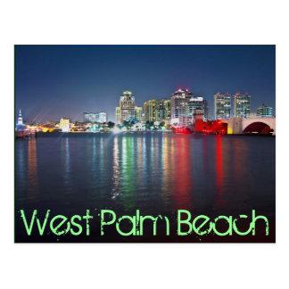 West Palm Beach, Florida, reflections at dusk. Postcard
