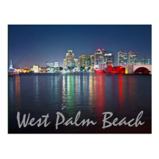 West Palm Beach, Florida, reflections at dusk. Postcard