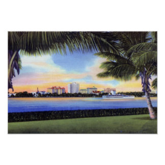 West Palm Beach Florida Skyline at Sunset Poster