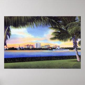 West Palm Beach Florida Skyline at Sunset Poster