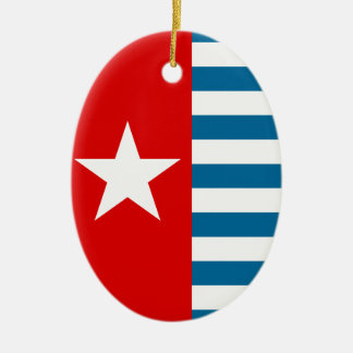 west papua Double-Sided oval ceramic christmas ornament
