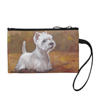 West Playing in Leaves Dog Art Clutch Purse