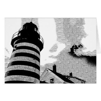 West Quddy Lighthouse Pen n Ink Card