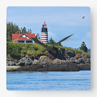 West Quoddy Head Lighthouse, Maine Square Wall Clock