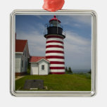 West Quoddy Head Lighthouse State Park is the Square Metal Christmas Ornament
