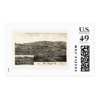 West Randolph, VT Panoramic Map - 1886 Stamps