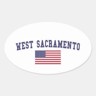 West Sacramento US Flag Oval Sticker