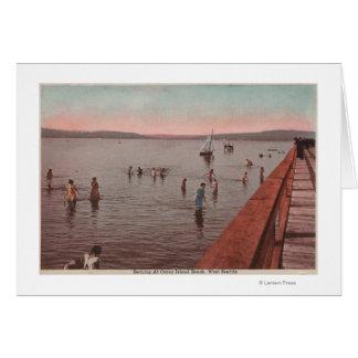 West Seattle, WA - Bathing at Coney Island Beach Card