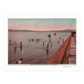 West Seattle, WA - Bathing at Coney Island Beach Postcard