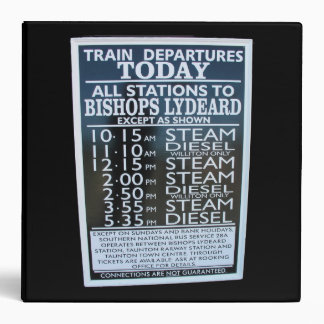 West Somerset Railway, Minehead station timetable 3 Ring Binder
