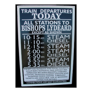 West Somerset Railway, Minehead station timetable Poster