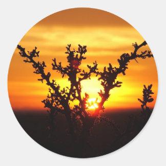 West Texas Desert Sunset Classic Round Sticker