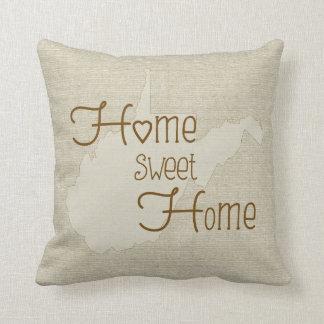 West VA - Home Sweet Home burlap-look custom name Pillows