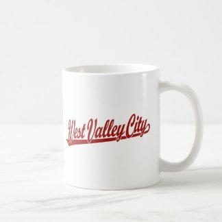 West Valley City script logo in red Coffee Mug