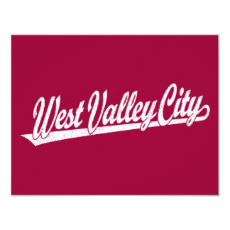 West Valley City script logo in white distressed Custom Invitation