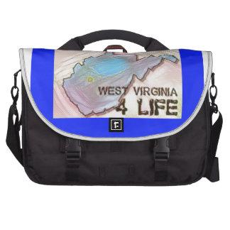 """West Virginia 4 Life"" State Map Pride Design Laptop Commuter Bag"