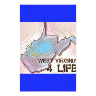 """""""West Virginia 4 Life"""" State Map Pride Design Stationery"""