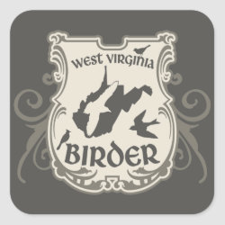 Square Sticker with West Virginia Birder design