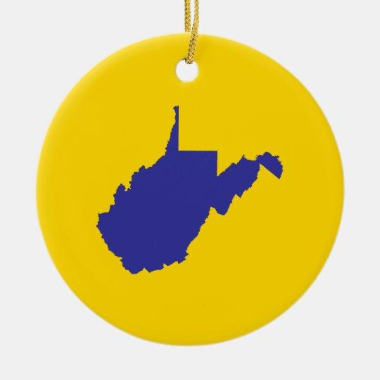 West Virginia Blue and Gold Ceramic Ornament