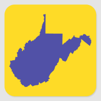 West Virginia Blue and Gold Square Stickers