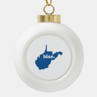 WEST VIRGINIA BLUE STATE CERAMIC BALL CHRISTMAS ORNAMENT