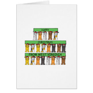 West Virginia cats in hats Happy Christmas. Card