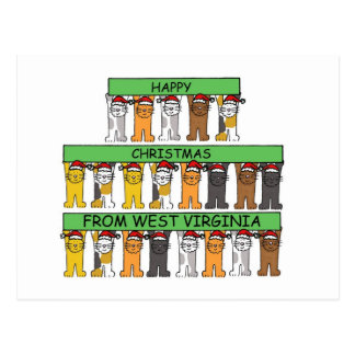 West Virginia cats in hats Happy Christmas. Postcard