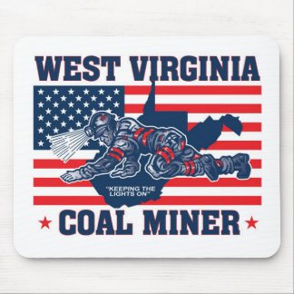 WEST VIRGINIA COAL MINER RED WHITE AND BLUE MOUSE PAD