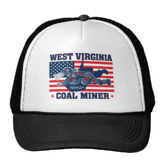 WEST VIRGINIA COAL MINER RED WHITE AND BLUE TRUCKER HAT