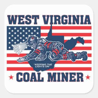 WEST VIRGINIA COAL MINER SQUARE STICKER