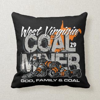 WEST VIRGINIA COAL MINER THROW PILLOWS