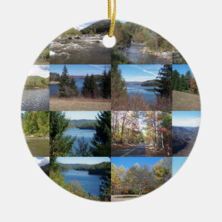 West Virginia Collage Double-Sided Ceramic Round Christmas Ornament