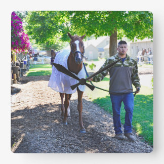 """West Virginia Derby Winner """"Madefromlucky"""" Square Wall Clock"""