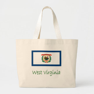 West Virginia Flag And Name Jumbo Tote Bag