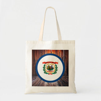 West Virginia flag circle on wood background Budget Tote Bag