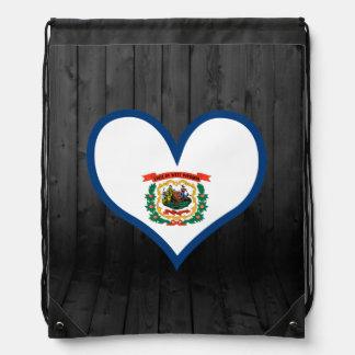 West+Virginia flag colored Drawstring Backpacks