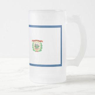 West Virginia Flag Frosted Glass Beer Mug