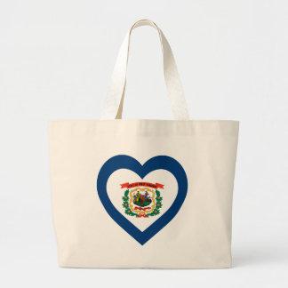 West Virginia Flag Heart Jumbo Tote Bag