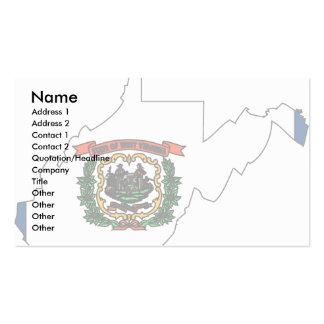 West Virginia Flag Map Business Cards