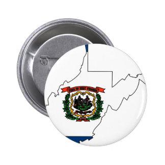 West Virginia Flag Map Pinback Button