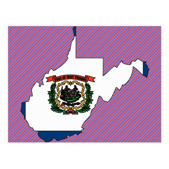 West Virginia Flag Map Postcard