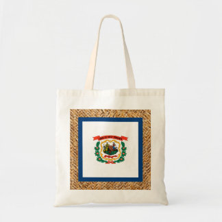 West Virginia Flag on Textile themed Budget Tote Bag