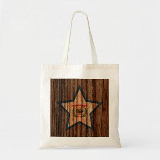 West+Virginia Flag Star on Wood theme Budget Tote Bag