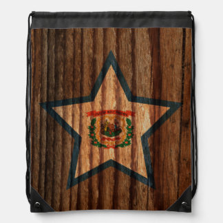 West+Virginia Flag Star on Wood theme Backpacks