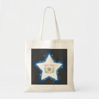 West Virginia Flag Star Shining Budget Tote Bag