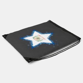 West Virginia Flag Star Shining Drawstring Backpacks