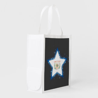 West Virginia Flag Star Shining Grocery Bags